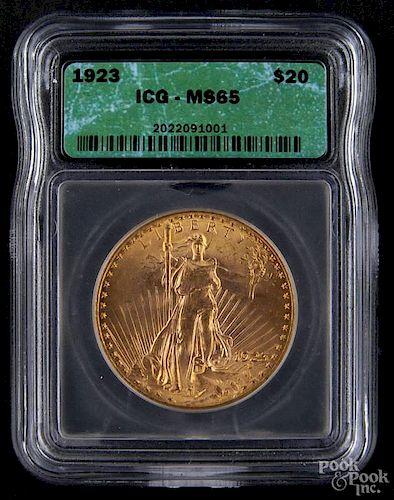 Gold Saint Gaudens twenty dollar coin, 1923, ICG MS-64.