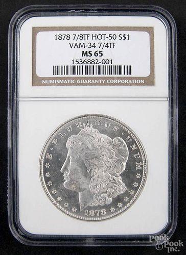 Silver Morgan dollar coin, 1878 7/8 TF, Hot-50, Vam-34, 7/4 TF, NGC MS-65.