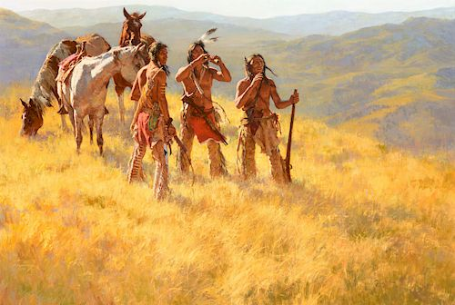 Howard Terpning (b. 1927), Dust of Many Pony Soldiers (1981)