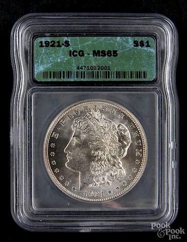 Silver Morgan dollar coin, 1921 S, ICG MS-65.