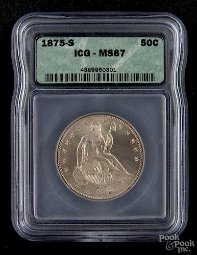 Silver Seated Liberty half dollar coin, 1875 S, ICG MS-67.