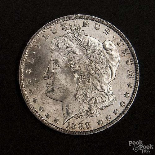 Silver Morgan dollar coin, 1888, MS-63 to MS-64.