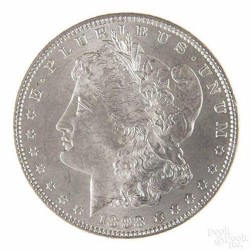 Silver Morgan dollar coin, 1898, MS-60 to MS-63.
