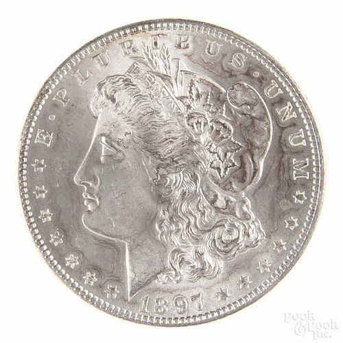Silver Morgan dollar coin, 1897, MS-60 to MS-63.