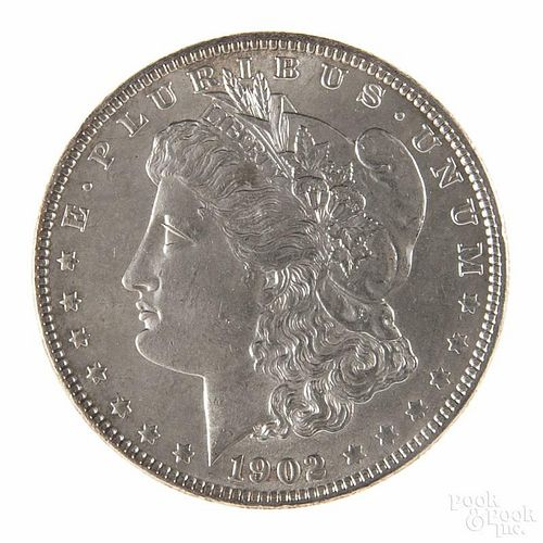 Silver Morgan dollar coin, 1902, MS-60 to MS-63.