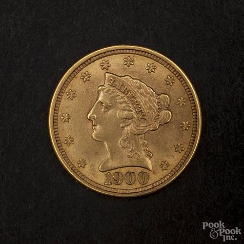 Gold Liberty Head two and a half dollar coin, 1900, MS-62 to MS-63.