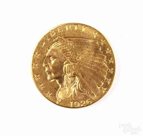 Gold Indian Head two and a half dollar coin, 1926, MS-60 to MS-62.