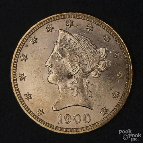 Gold Liberty Head ten dollar coin, 1900, MS-62 to MS-63.