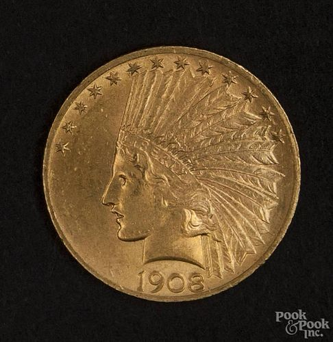 Gold Indian Head ten dollar coin, 1908, MS-60 to MS-62.