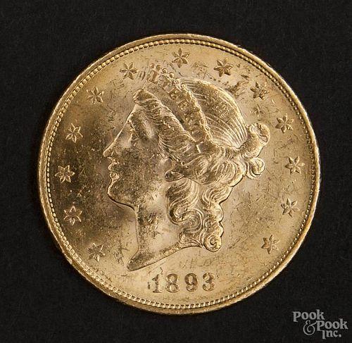 Gold Liberty Head twenty dollar coin, 1893 S, MS-60 to MS-62.