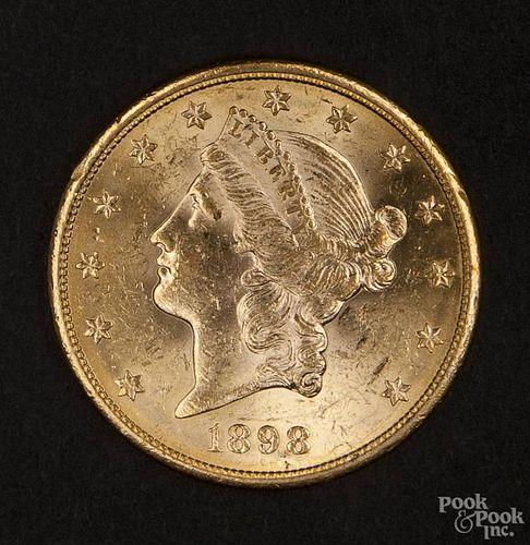 Gold Liberty Head twenty dollar coin, 1898 S, MS-60 to MS-62.