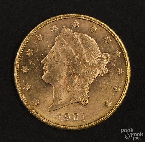 Gold Liberty Head twenty dollar coin, 1901 S, MS-60 to MS-62.