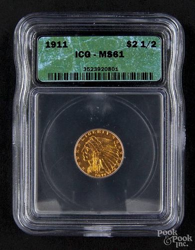 Gold Indian Head two and a half dollar coin, 1911, ICG MS-61.