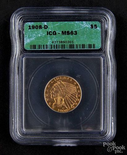 Gold Indian Head five dollar coin, 1908, ICG MS-63.