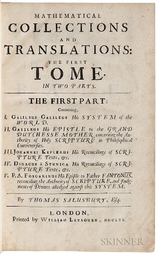 Galileo, Galilei (1564-1642) trans. Thomas Salusbury (d. 1666) Mathematical Collections and Translations the First Tome.
