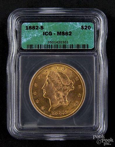 Gold Liberty Head twenty dollar coin, 1882 S, ICG MS-62.