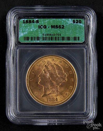 Gold Liberty Head twenty dollar coin, 1884 S, ICG MS-61.