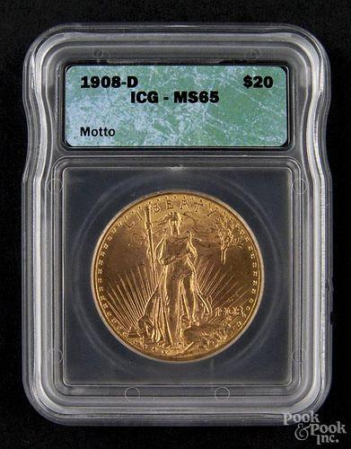 Gold Saint Gaudens twenty dollar coin, 1908 D, with motto, ICG MS-65.