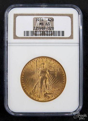 Gold Saint Gaudens twenty dollar coin, 1914, NGC MS-63.