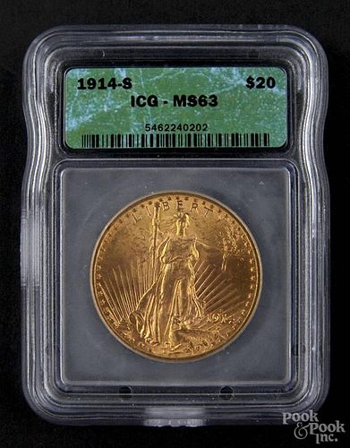 Gold Saint Gaudens twenty dollar coin, 1914 S, ICG MS-63.