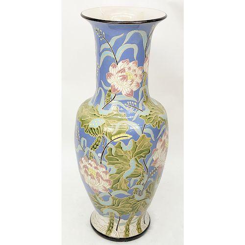 Monumental majolica pottery vase features asian inspired lotus item image mightylinksfo