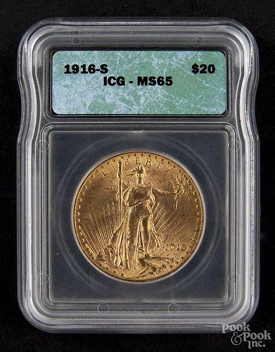 Gold Saint Gaudens twenty dollar coin, 1916 S, ICG MS-65.