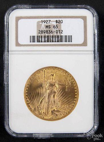 Gold Saint Gaudens twenty dollar coin, 1927, NGC MS-65.