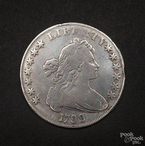 Silver Drape Bust dollar coin, 1799, F-VF.