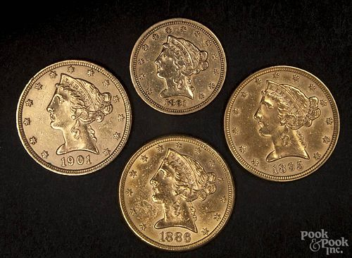 Four gold Liberty Head coins, to include an 1861 two and a half dollar coin, an 1891 five dollar coi