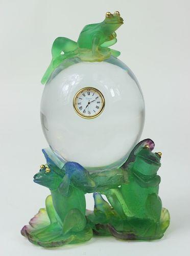 Rare Daum Pate de Verre French Crystal Frog Clock