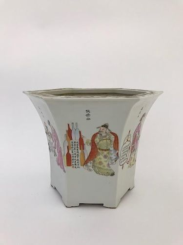 Chinese Porcelain Hexagonal Flower Pot.