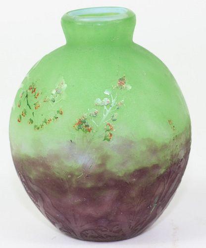 Daum Nancy Art Glass Rain Forest Scene Vase.