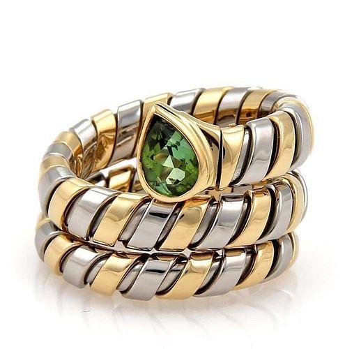 Bvlgari Tubogas 1ct Tourmaline 18k Gold Ring