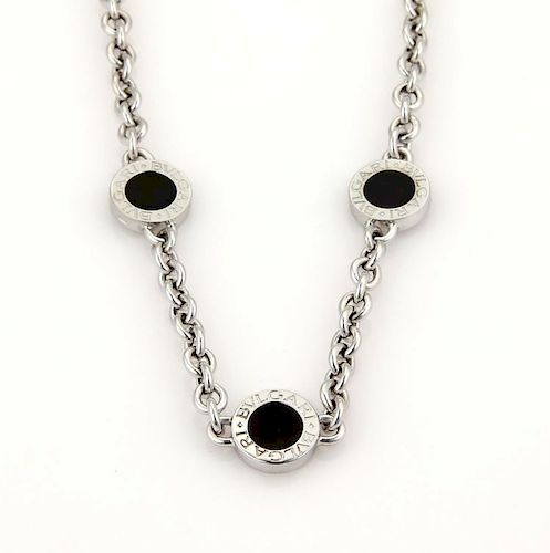 Bvlgari Onyx 18k Gold 3 Circle Station Necklace
