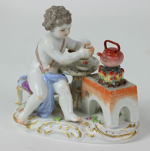 Meissen German H/P Porcelain Seated Putti Figurine
