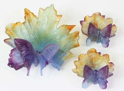 3 Daum Pate de Verre French Art Glass Ring Trays