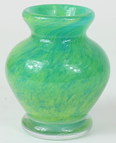 Daum France Mini Apple Green Art Glass Bud Vase