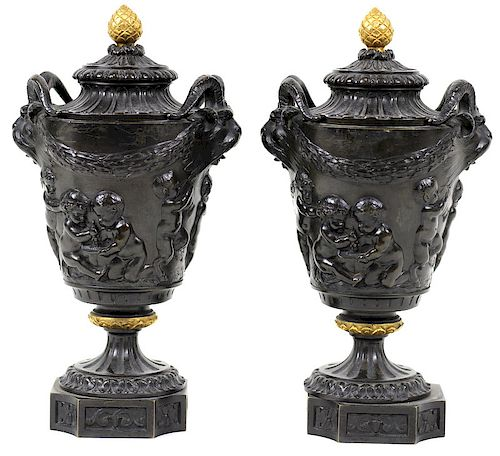 Heavy Antique French Bronze Molded Urns