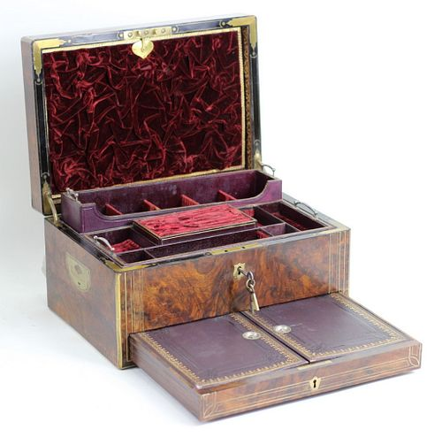 Antique 19th C English Mahogany Wooden Jewelry Box