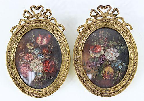 Antique Still Life Miniatures In Brass Frames