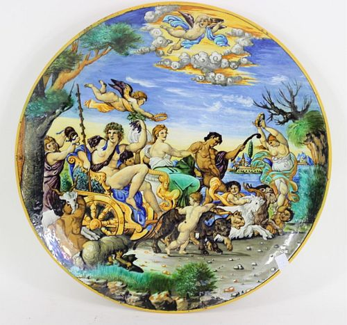 20th C. Italian Mythological H/P Majolica Charger
