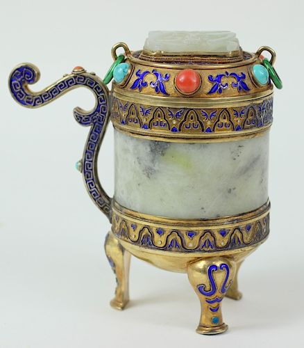 A Chinese Enameled Silver and White Jade Tea Caddy