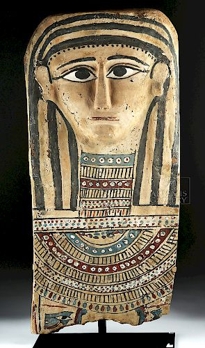 Egyptian Painted Gesso & Wood Mummy Mask