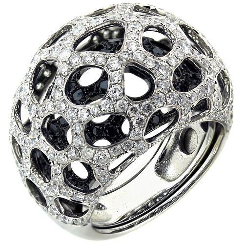 White and Black Diamond White Gold Ring