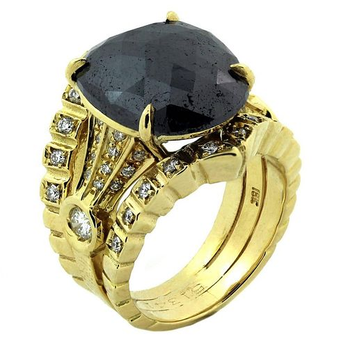 18K Gold & Diamond Ring with Black Diamond Center