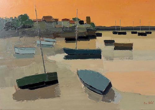 """Pierre Palue """"Harbor"""" Oil Painting On Canvas"""