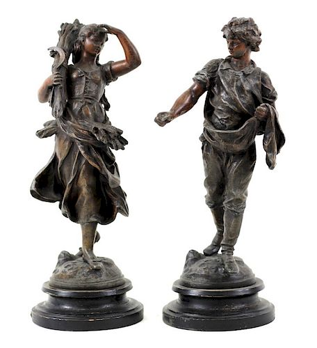 Pair of French Mixed Metal Boy & Girl Harvesters