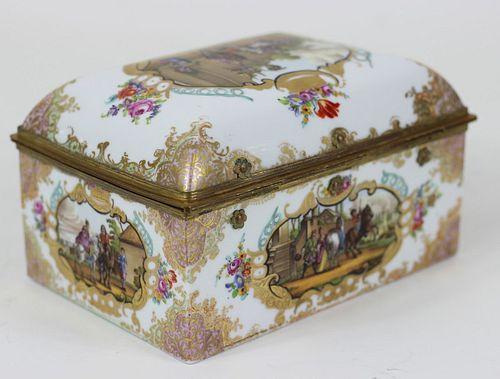 Dresden Hand Painted Porcelain Hinged Dresser Box