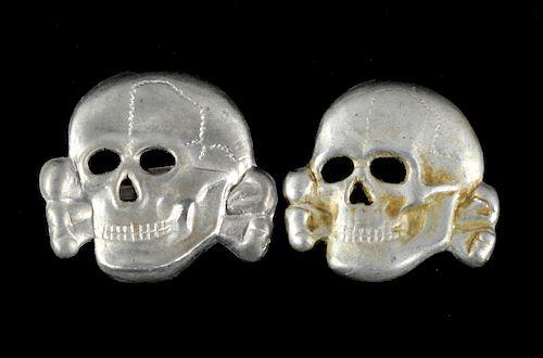 German Nazi SS Totenkopf Hat Skulls x2 by North American Auction