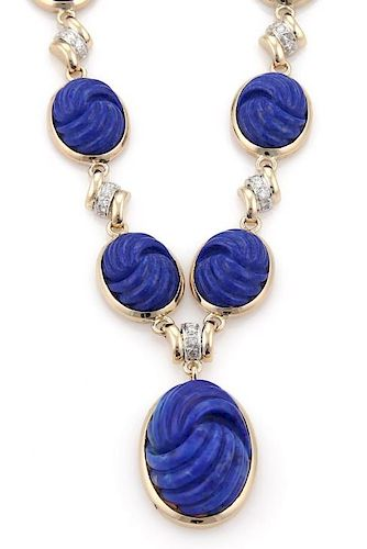 Diamond Carved Lapis 14k Gold Pendant Necklace